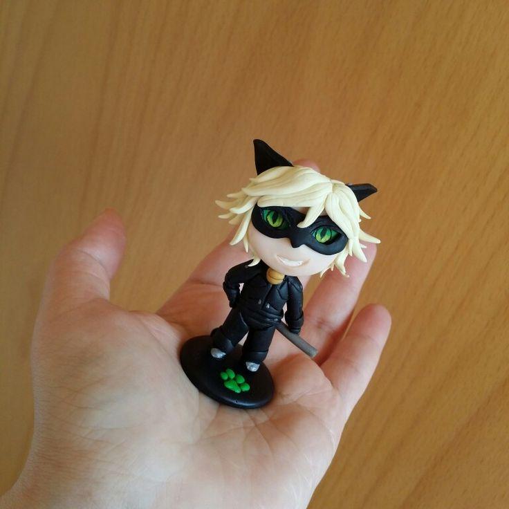 Cat Noir chibi figure polymer clay