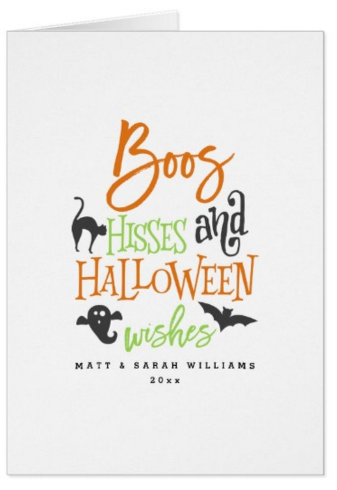 Boos Hisses and Halloween Wishes Halloween Greeting Cards