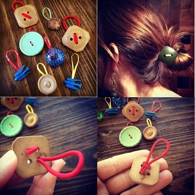 Button hair ties- I should have a board just for things to do with moms buttons...