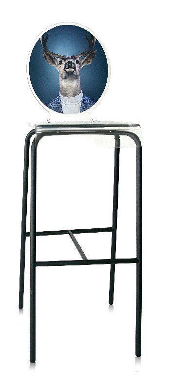 Tabouret verre acrylique Graph pieds métal cerf - Acrila