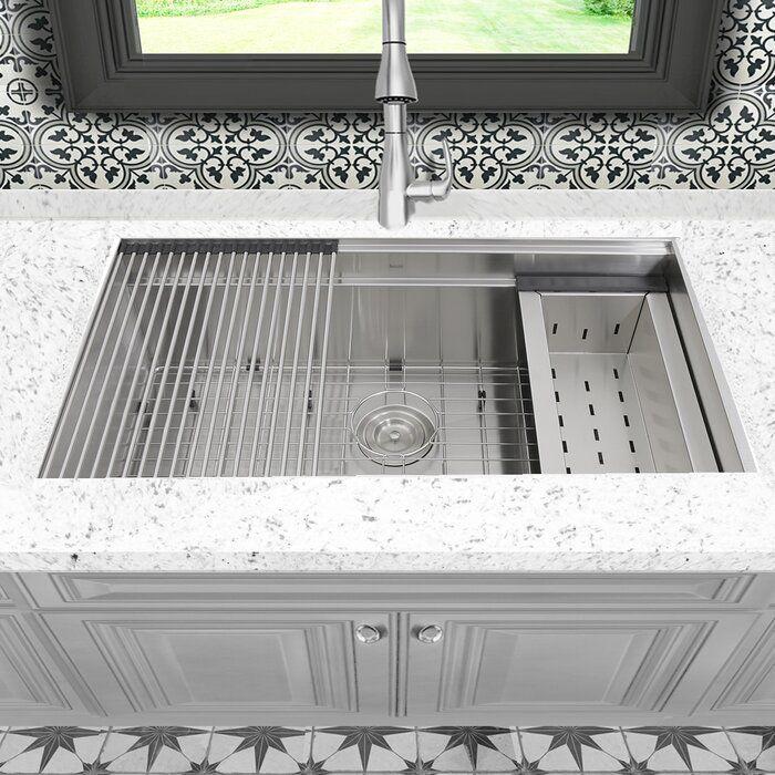 Pro Series 32 L X 20 W Undermount Kitchen Sink With Basket Strainer Undermount Kitchen Sinks Single Bowl Kitchen Sink Kitchen Sink