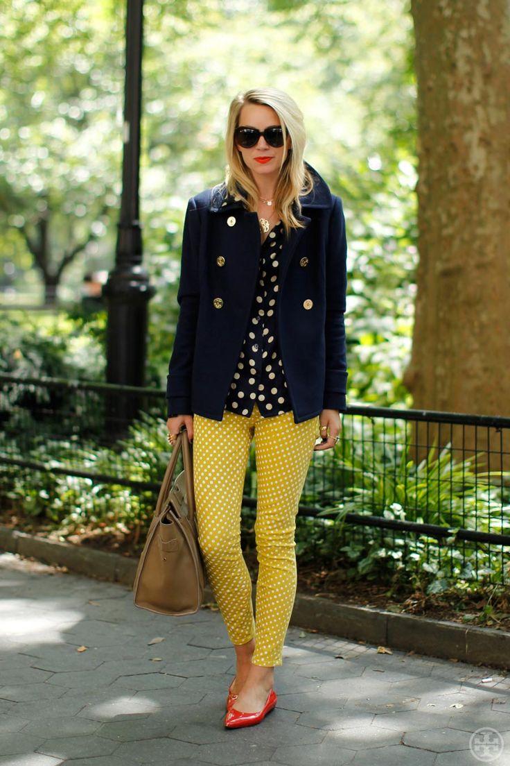 jacket, sunglasses, yellow, and polka dot pants