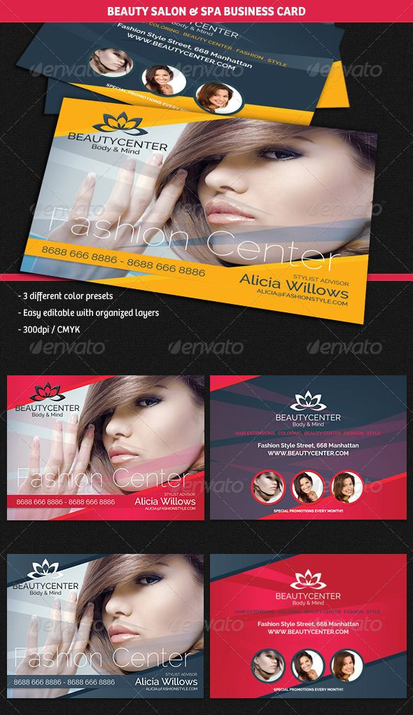 Beauty Center & Spa Business Cards #GraphicRiver Description A professional and modern business card template, perfect for any beauty center, hair salon / stylist or fashion consultancy activity. Content – 3 Different color presets included – 300dpi / CMYK included – Layered and easy editable Fonts Raleway Created: 27June13 GraphicsFilesIncluded: PhotoshopPSD Layered: Yes MinimumAdobeCSVersion: CS2 PrintDimensions: 3.5x2.5 Tags: advertising #artist #beautycenter #beautyshop #business…
