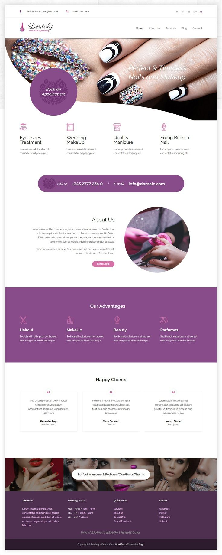 Dentaly is clean and modern design 3in1 responsive #WordPress theme for dental care, tasty cupcakes, #manicure and #pedicure website download now
