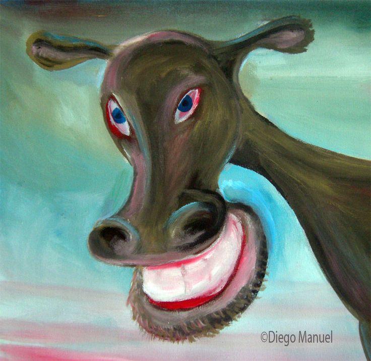 """""""Vaca gris"""", acrilico sobre tela, 44 x 30 cm. 2004 . Pintura en venta de la Serie Vacas Argentinas del artista argentino Diego Manuel"""