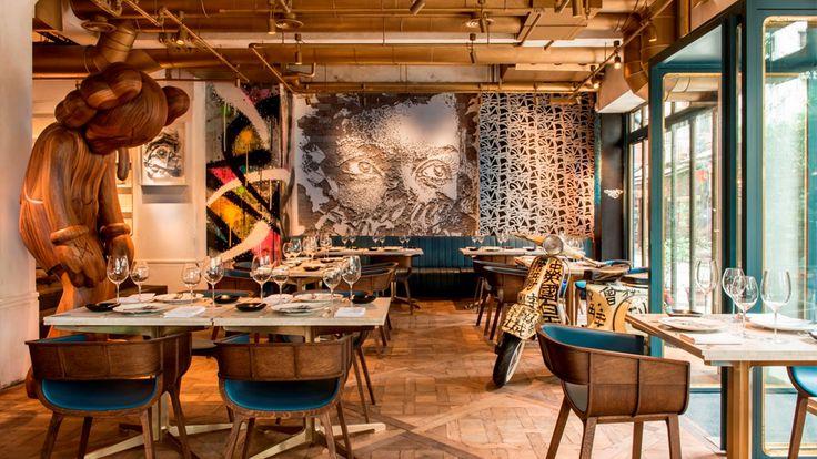 Интерьер французского ресторан и лаунж-бар Bibo в Гонконге