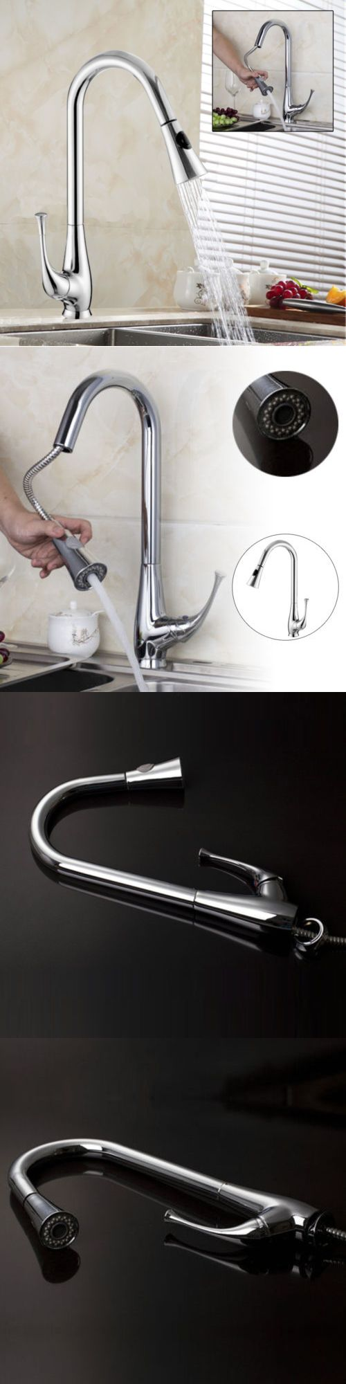 Bathroom sink faucet one hole double handle basin mixer tap ebay - Faucets 42024 Chrome Pull Out With Spray Bathroom Basinand Kitchen Sink Mixer Tap Single Lever