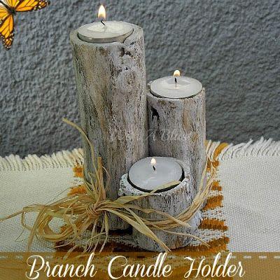 Branch Candle Holder ~ easy DIY !     #fallcrafts #falldecor #candles #candleholder #tealights via:withablast.blogspot.com