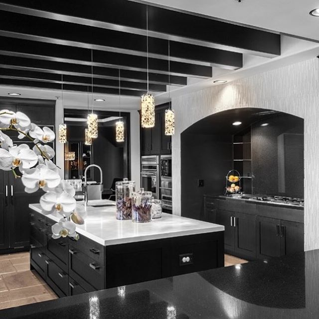 In Contrast To My Love For All White Kitchens I Really Like This Black One Too Orange Coast Interior Design