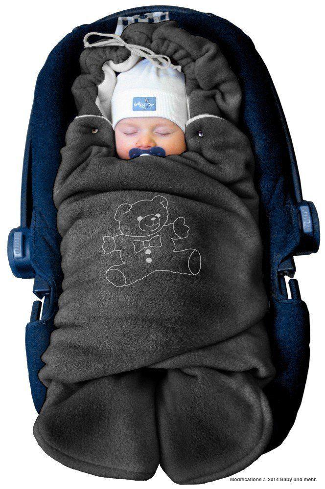 """ByBoom® - Baby Winter-Einschlagdecke """"Das Original mit dem Bären"""", Universal für Babyschale, Autositz, z.B. für Maxi-Cosi, Römer, für Kinderwagen, Buggy oder Babybett, Farbe:Anthrazit/Grau"""