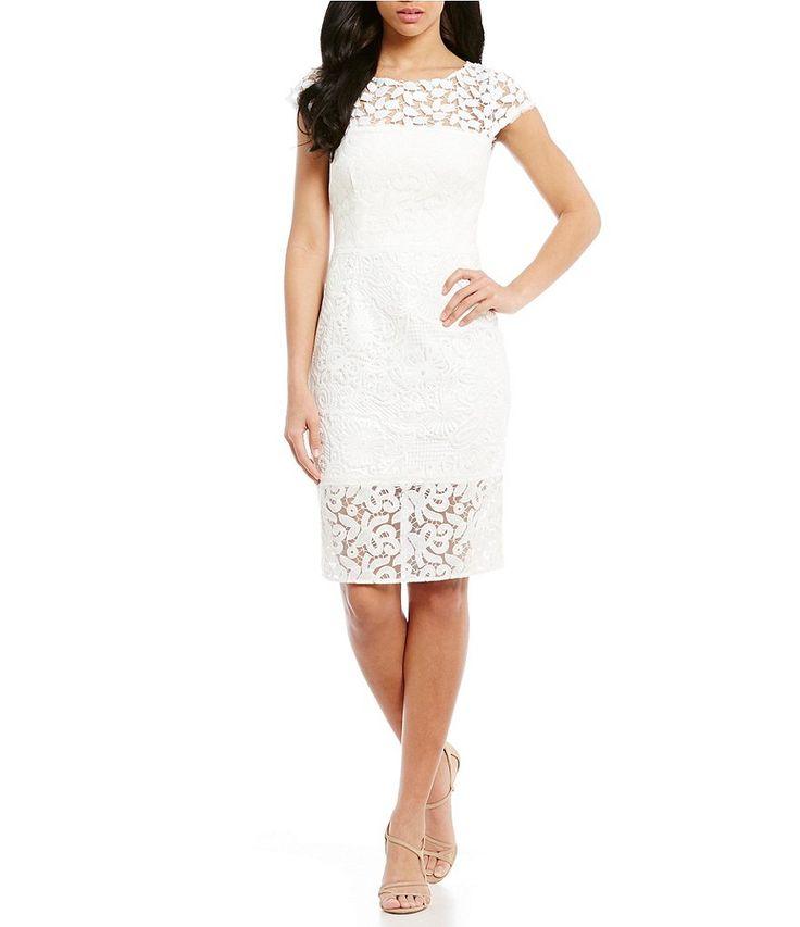 Kay Unger Illusion Lace Midi Sheath Dress