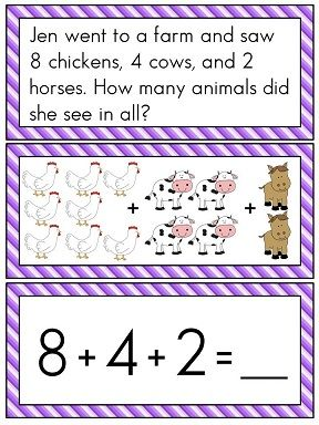 Adding 3 Numbers to 20 MEGA Pack! 16 different worksheets and 7 math stations / fun activities to help kids practice this difficult 1st grade Common Core skill!