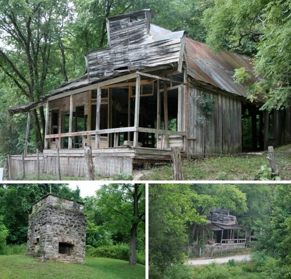 The Ghost Town of Rush, Arkansas. In the 1890s this town was home to thousands of people and a booming zinc mining operation. The town died in the 1950s and is now a true American ghost town. In fact, it is the only ghost town listed on the National Register of Historic Places!