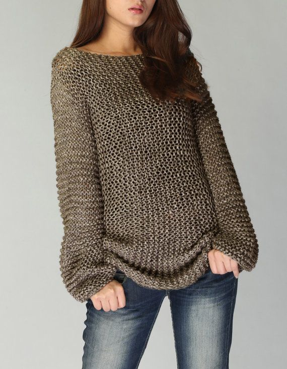 Hand knit sweater  Eco cotton long sweater in Mocha