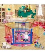 Baby Playpen 6 Panel Colors Wooden Frame Children Playard Foldable Room ... - $88.10