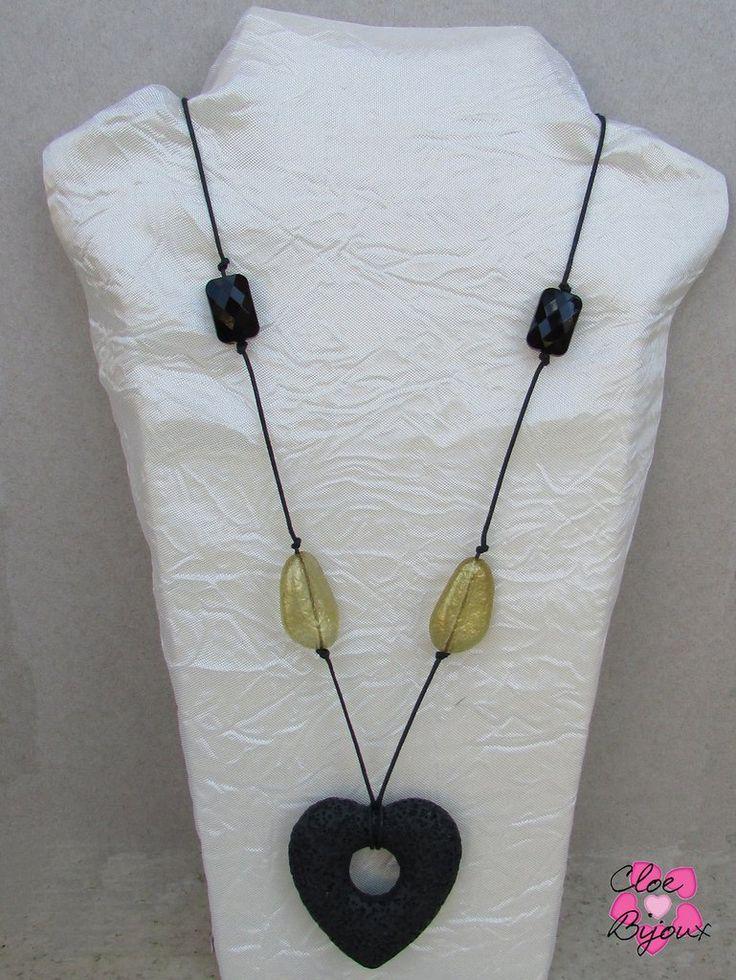 Collana Pietra lavica cuore nero, by Cloe Bijoux, 10,00 € su misshobby.com