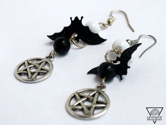 Pentagram Bat Earrings Witches Collection Limited Edition  Available on Etsy: https://www.etsy.com/uk/listing/236419465/witches-collection-earrings-pentagram?ref=shop_home_active_1