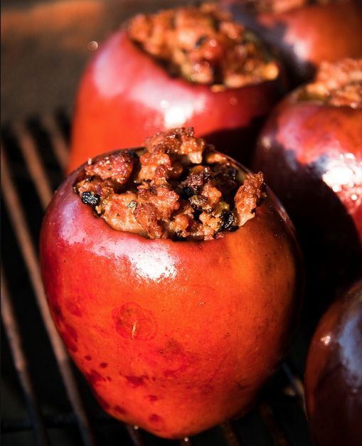 36 Things To Grill Other Than A Burger - Grilled apples stuffed with sausage and sage.