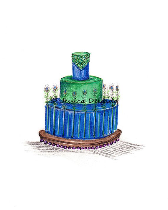 Peacock Cake Blue Cake Green Cake Exotic Cake by BeautyInPattern, $9.99