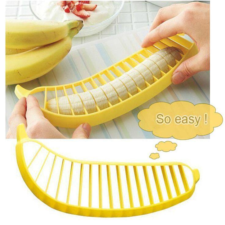 HOT SALE! 1 pcs Banana Slicer Chopper Cutter Plastic Banana Salad Make Tool Fruit Salad Sausage Cereal Cutter Plastic Banana