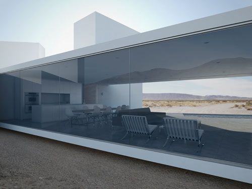 :: ARCHITECTURE :: Los Angeles-based Edward Ogosta Architecture, the weekend family home is located in California's Coachella Valley desert. Featured on Design Milk. I adore the frameless glazing framing the interior from both sides, beautiful exterior detailing with the simple reveal detail making the floor plate appear as it if floats above the ground - breath taking.  Inspired by the work of Edward Ogosta Architecture.  Just needs to be next to a beach. #architecture