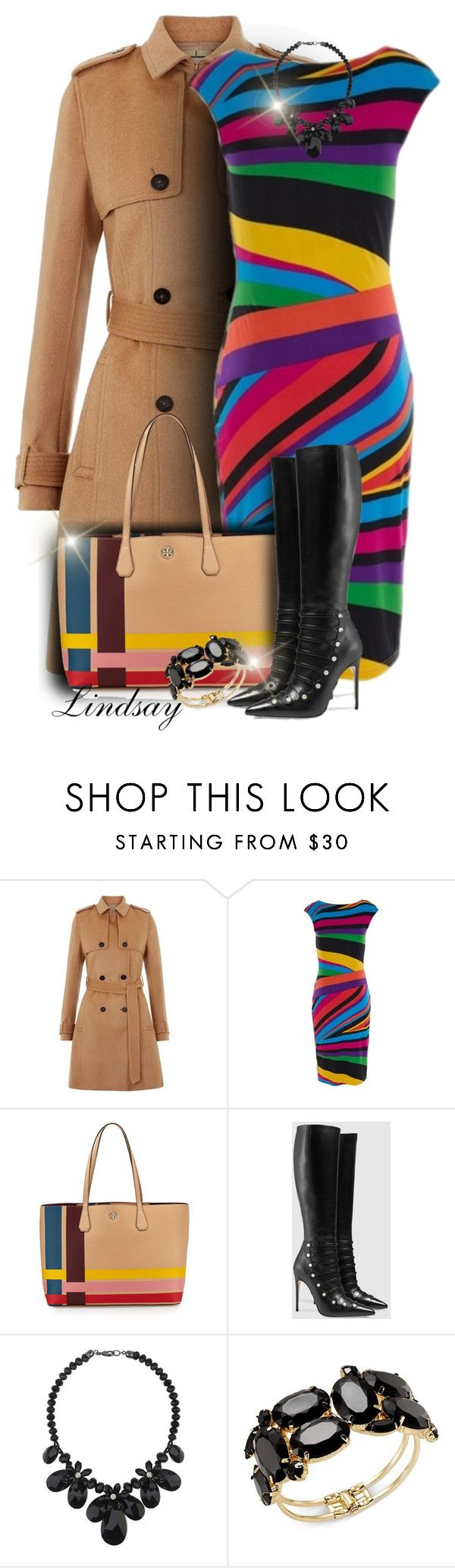 """Tory Burch Perry Variegated-Stripe Tote Bag"" by lindsayd78 ❤ liked on Polyvore featuring Hobbs, Tory Burch, Gucci, Wallis and Thalia Sodi"