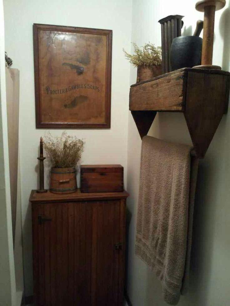 Bathroom , Country Primitive Bathroom Decor : Primitive Bathroom Decor With Wall Art And Cabinet And Open Shelf With Towel Bar