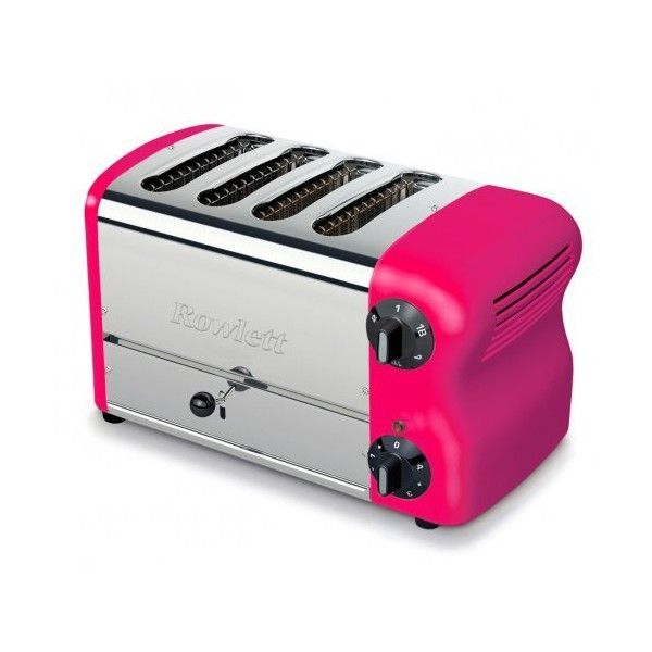 Rowlett Rutland Esprit 4 Slice Pink Toaster (360 AUD) ❤ liked on Polyvore featuring home, kitchen & dining, small appliances, slice toaster, four slice toaster, kitchen electrics, pink kitchen accessories and 4 slice toaster