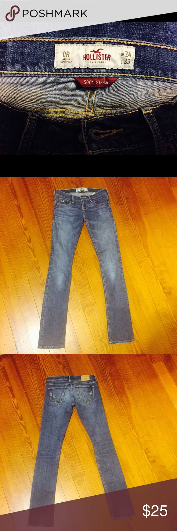 Hollister social stretch jeans Hollister brand socials jeans zero our Laguna skinny waist 24 inches inseam 33 inches Front rise 7 inches/  back rise  11 inches (Shop and feel good about it 😁. Part of the money u spend goes to Purple Heart Foundation 💜 Hollister Jeans Skinny