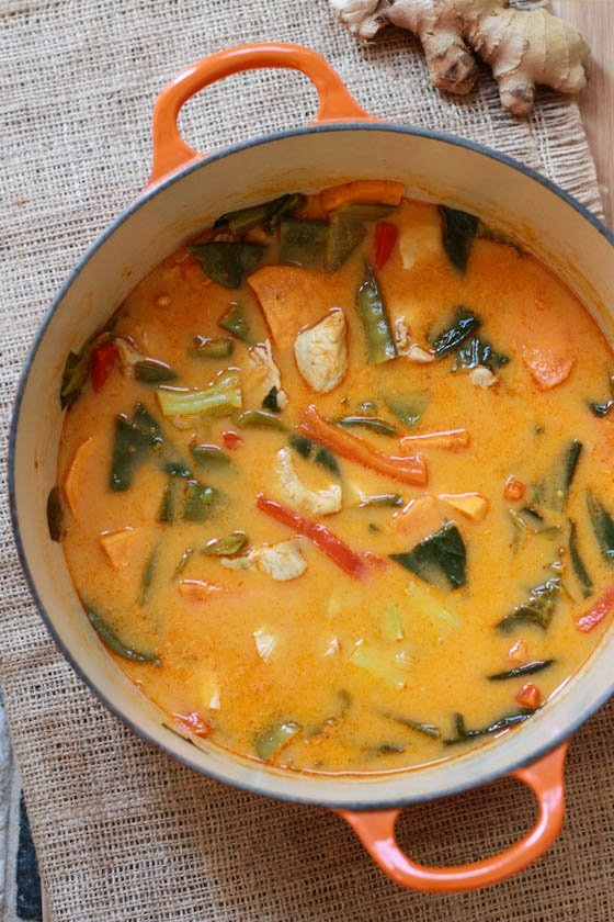 Thai Red Chicken Curry - fairly good but lacked any heat, added sriracha and changed up the veggies a bit.