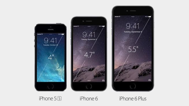The new iPhone 6 has a 4.7-inch display. iPhone 6 Plus has a 5.5-inch display.