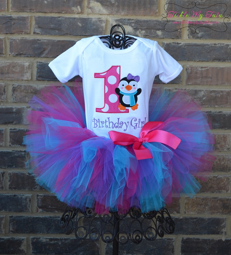 Penguin Themed Winter ONEderland Winter Themed Birthday Tutu Outfit.
