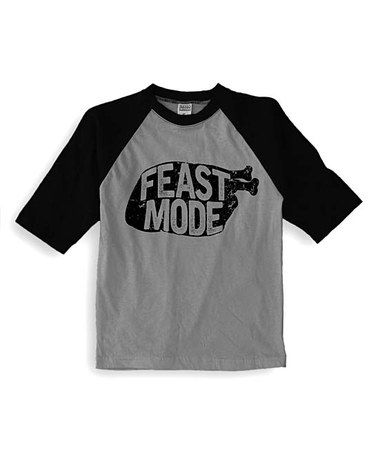 Look at this #zulilyfind! Gray & Black 'Feast Mode' Raglan Tee - Kids & Tween #zulilyfinds