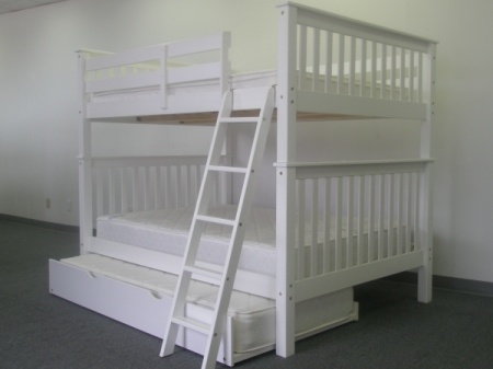 Bunk Beds Full Over Full End Ladder White Trundle