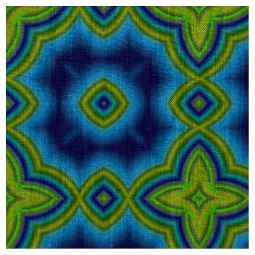 Aqua blue and green Moroccan tile geometric pattern natural linen fabric.