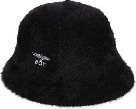 Boy London Rabbit Fur Bucket Hat - For Men in Black for Men