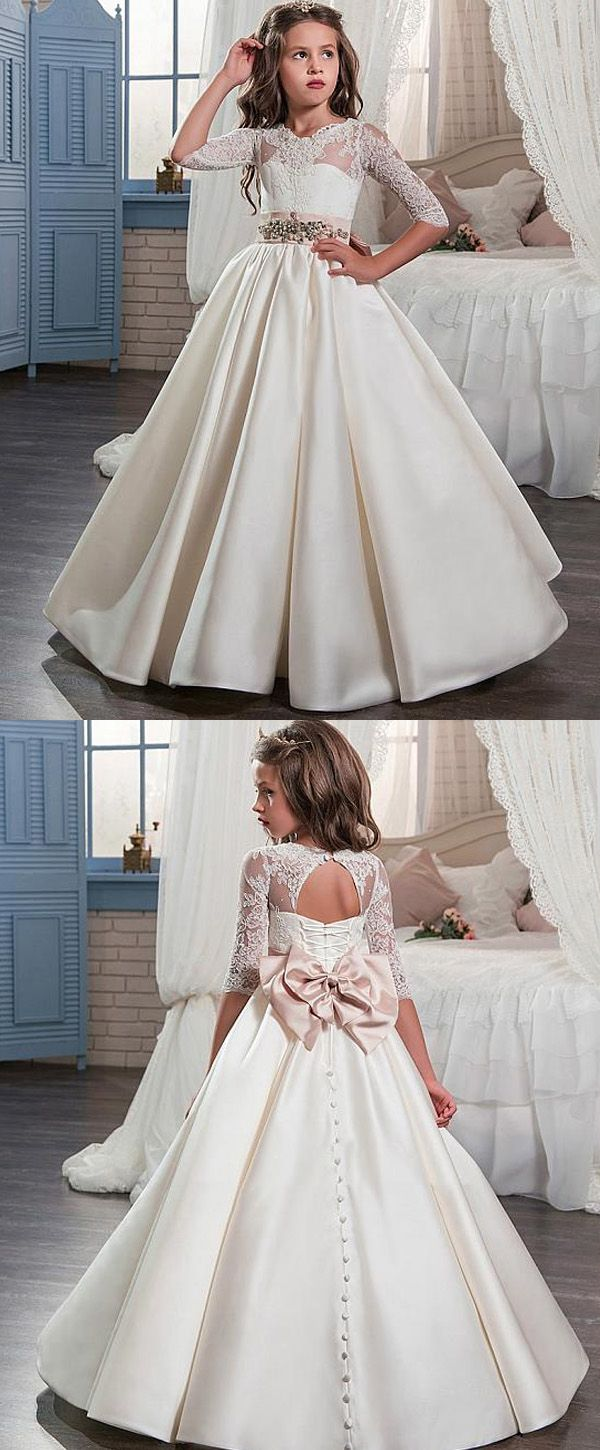 Glamorous Tulle & Satin Jewel Neckline A-Line Flower Girl Dresses With Lace Appliques
