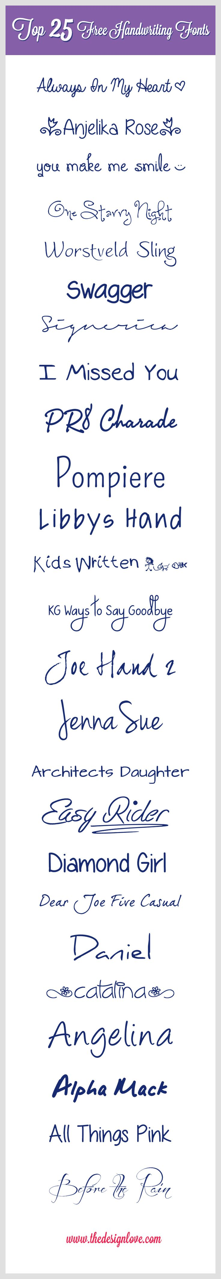 Top 25 Free Handwriting Fonts to Download