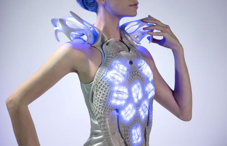 Combining the chip with a variety of sensors on the the Synapse dress -- 3D printed from a very flexible material called thermoplastic polyurethane (TPU) -- lights up embedded LEDs according to a variety of stimuli from the body of the wearer.