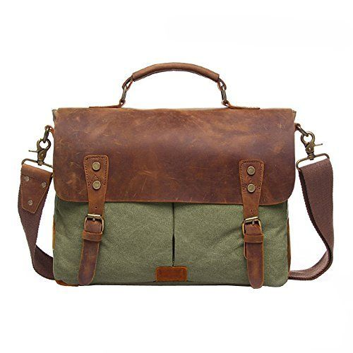 New Trending Briefcases amp; Laptop Bags: Messenge Bag, P.KU.VDSL Mens Vintage Genuine Leather Laptop Messenger Bags, Unisex Canvas Handbag Briefcase for Men and Women, Satchel Shoulder Bag Fits 14 inch Laptop (Army green). Messenge Bag, P.KU.VDSL Men's Vintage Genuine Leather Laptop Messenger Bags, Unisex Canvas Handbag Briefcase for Men and Women, Satchel Shoulder Bag Fits 14 inch Laptop (Army green)   Special Offer: $49.99      322 Reviews SPECIFICATI