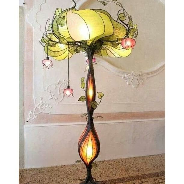 Art nouveau inspired lamp made by the lighting studio lampa dani in italy