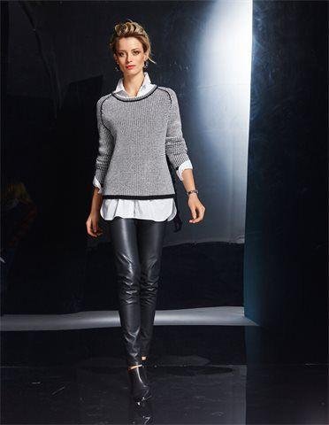 Damenhose in Lederoptik, Langes Damen Hemd mit gerundetem Saum und Seitenschlitzen, Damen Pullover in Boxyform mit Kaschmir