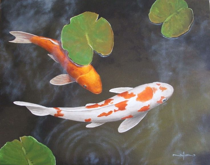 How to paint koi fish and lily pads do it yourself today for Koi pool paint