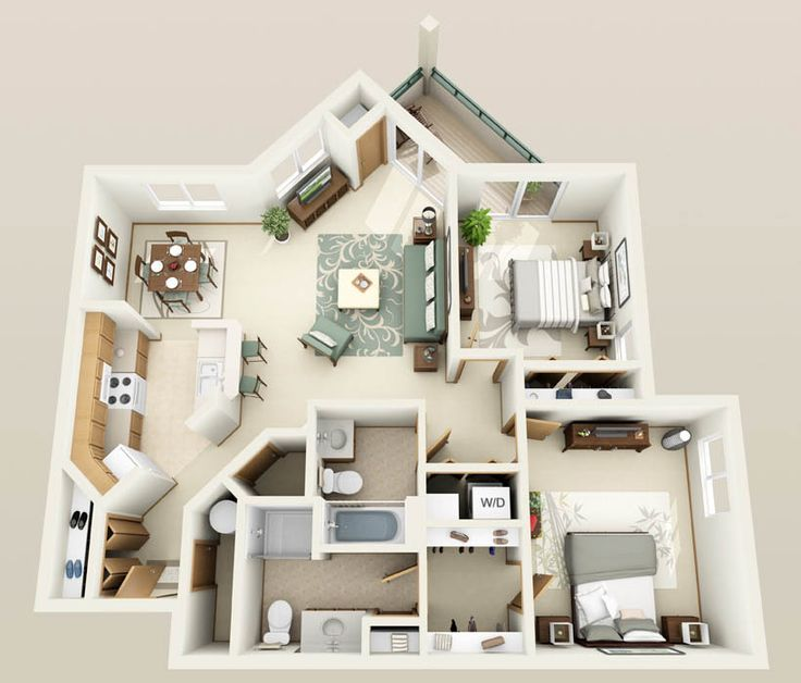 3 Br Apartment: 812 Best Images About Plantas 3D, Arquitetura On Pinterest