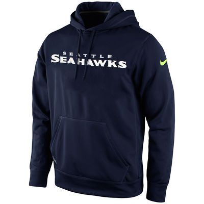 Mens Seattle Seahawks Nike Navy Blue KO Wordmark Performance Hoodie