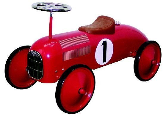 Speedster Red -  This red racer is a ride on that can't be beat! Featuring sleek, retro design this classic toy is emblazoned with the number 1! Made from strong, durable steel. Features a tight turning circle, great for indoor play. For ages 1-3. Some assembly required.  $149.99