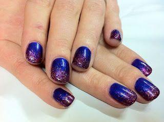 CND Shellac Nail Art - Purple Purple & Glitter Fade