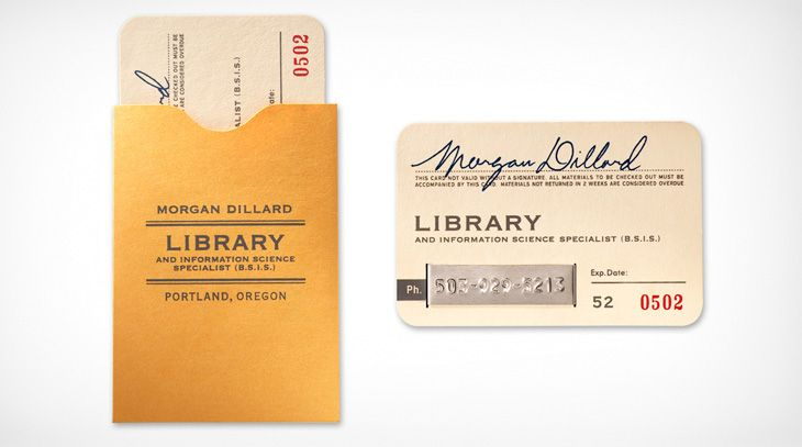 Library card business card holder.