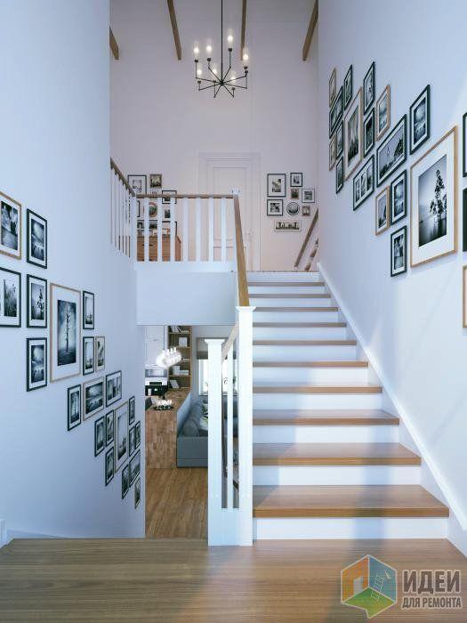 Лестница в частном доме, декор стен фотографиями