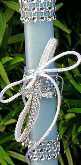 Shambala cross bracelet on light blue easter candle $ 35